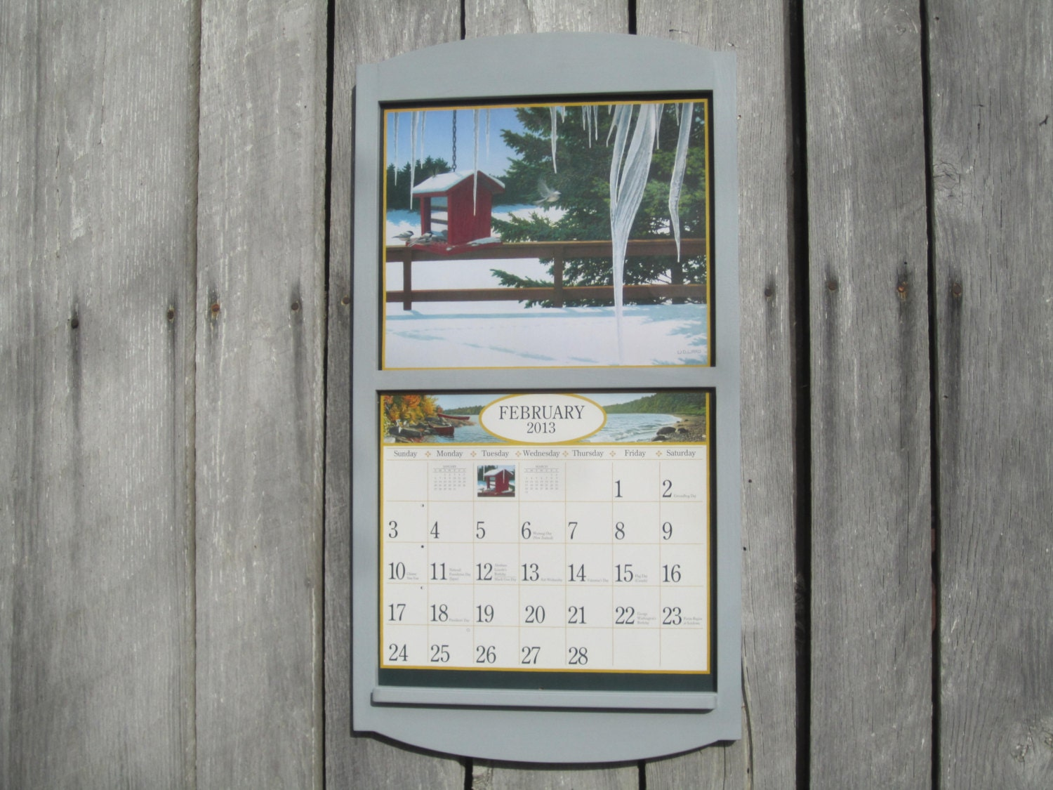 Calendar Wooden Frame : Calendar holder wooden frame in light pale gray
