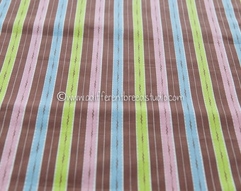 Fun Colorful Stripe - Vintage Fabric 50s 36 in wide New Old Stock Chartreuse Pink Turquoise