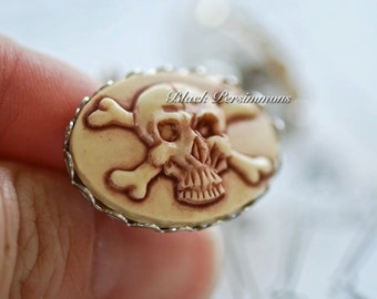 Samuel Cufflinks - Skull CrossBones Pirate Zombie Cameo - Free Domestic Shipping