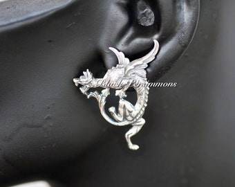 Griffin Earrings - Mythical Winged Legendary Creature - SOLDERED American Brass Stampings