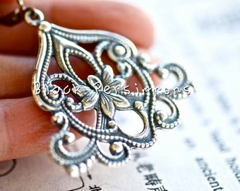 Ambrosia Earrings - American Made Antique Sterling Silver Plated Brass Filigree