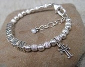 Personalized Baby/Children Name Bracelet- Sterling Silver- CHARM INCLUDED- Cross- first communion, baptism, wedding, birthday