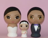 Custom Wedding Cake Toppers Family Hand Painted on Wooden Kokeshi Dolls