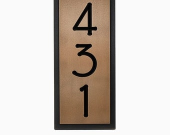 "Craftsman, Bungalow, Arts and Crafts vertical 6.5w x 15""h with 3 House Numbers, Made in USA by Atlas Signs and Plaques"