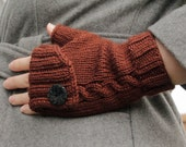 Fingerless Knit Gloves, elegant cable pattern with decorative buttons. Fall special, 20% off until Oct. 1st