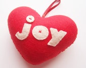 SUPER CUTE PROMO : Handmade Red 'joy' Heart Decoration
