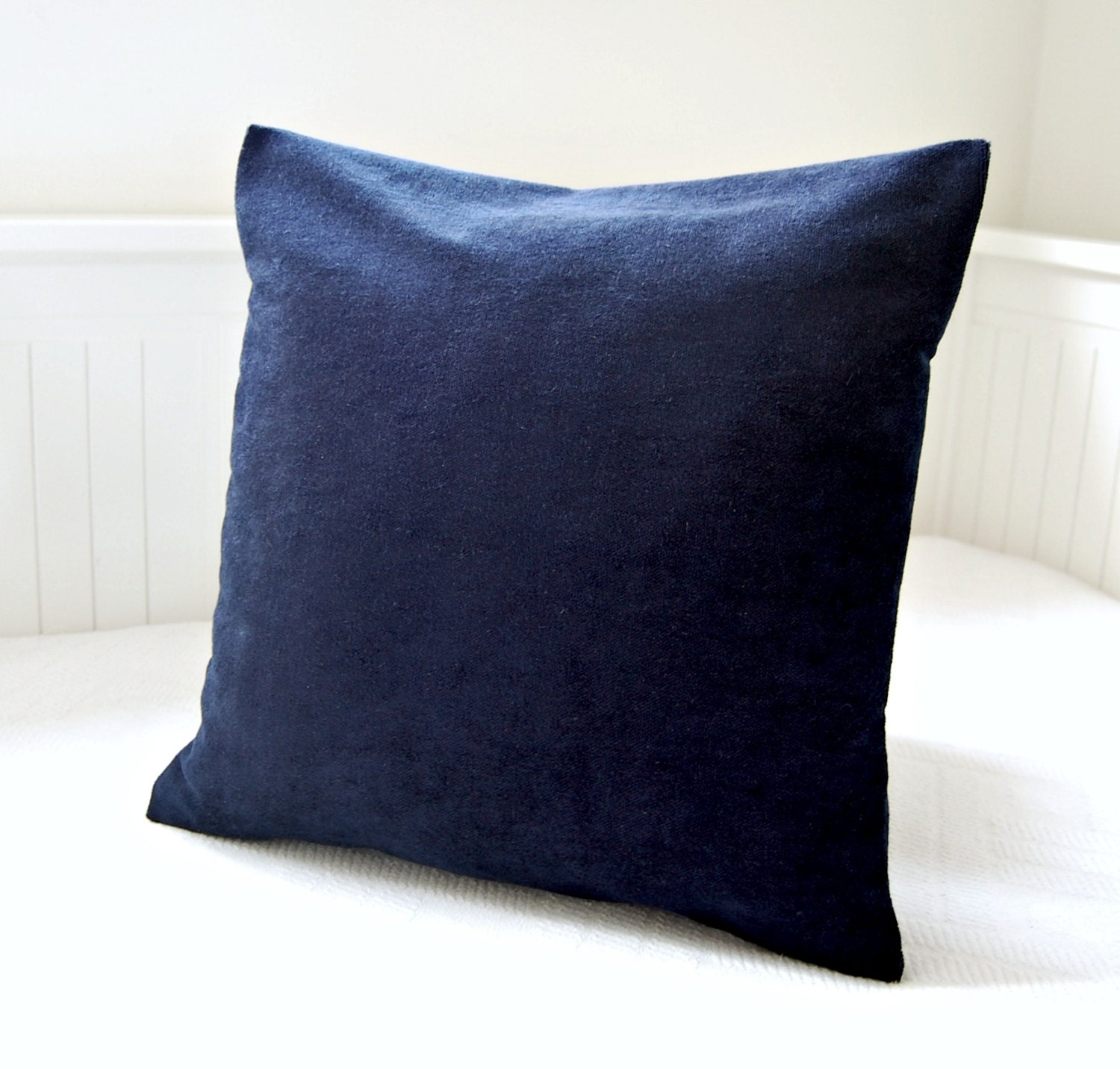 Dark Blue Throw Pillow : dark navy blue accent pillow cover 16 inch solid decorative