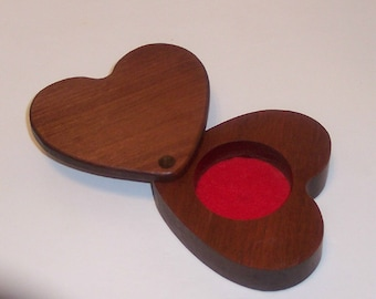 HEART Treasure Box, Keepsake box, Treasure Chest in Solid Mahogany