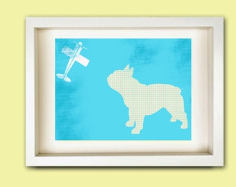 French Bull Dog - Fine art print, bull dog illustration, bull dog silhouette, blue bull dog