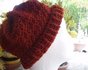 Pinched Crown Crochet Cloche Hat in Warm Rust Acrylic Yarn