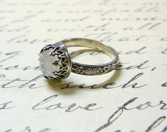 Roxy Ring - Beautiful Gothic Vintage Sterling Silver Ring with Rose cut Rainbow Moonstone and Heart Bezel