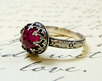 Roxy Ring - Beautiful Gothic Vintage Sterling Silver Floral Band Ring with Rose cut Ruby and Heart Bezel