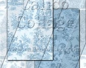 Vintage Blue Toile - Instant Download Digital Collage Sheet Printable - 2.5x3.5 ATC Tag Size 263