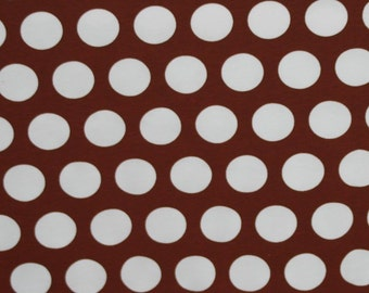 Knit Brown big caffee dots french dots 1 yard