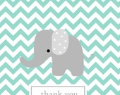 Chevron note card, chevron notes, baby note cards, custom personalized notes,Teal chevron background with grey elephant