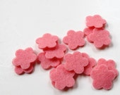 Felt Flowers    Wool Felt Tiny Blossoms    Set of 15   Carnation Pink    Applique Sewing  Confetti Party Supply Wedding Shower DIY