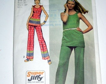 Vintage (1972) Simplicity Sewing Pattern - Tunic and Pants - for Sewing or Crafting