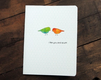 Little cute bird card, I like you and stuff