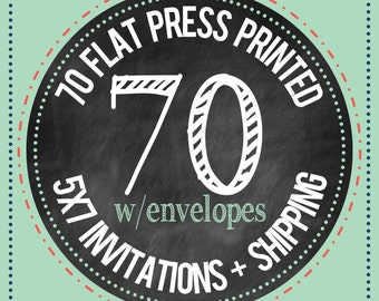 70 - 5x7 Flat Press Printed Cards with envelopes : PRINTING SERVICES
