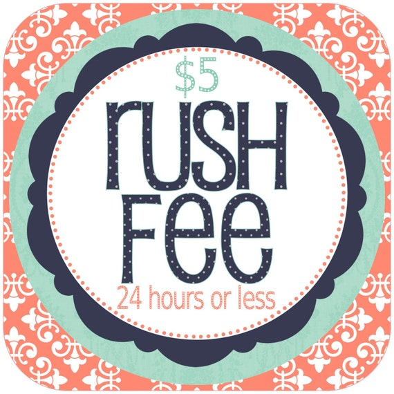 RUSH FEE add-on for any Pickle Doodle Designs order (invite, wall art, announcement, etc.)