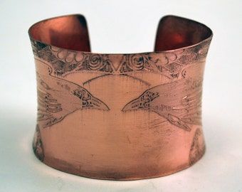 Etched Copper Cuff  Bracelet - Raven design - large anticlastic cuff- natural finish