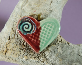 Red And Mint Green With Glass Infused Pottery Heart Focal Pendant, Handmade J24
