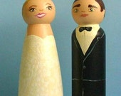 Wedding Cake Toppers - Personalized to Your Likeness / Wooden Peg Dolls