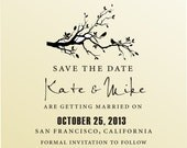 SAVE THE DATE Love Birds on Swirl Branch Self Iinking Stamp -  Custom Wedding Stationery Stamper - Style 6006