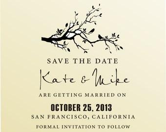 SAVE THE DATE Love Birds on Swirl Branch Self Iinking Stamp -  Custom Wedding Stationery Stamper - Style 6006