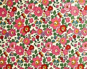 """Liberty of London classic """"Betsy"""" Tana Lawn fabric 100% Cotton in bright Pink and red Sold by the 1/2 yard Piece"""