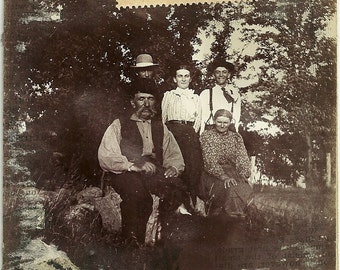 Vintage Victorian Photo Men In Hats One With Moustache And Ladies At Sustaceks Photograph