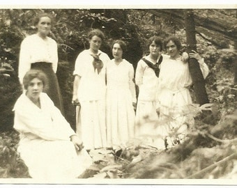 Vintage Photo Young Ladies Take Girls On Discovery Advernture In Forest Photograph