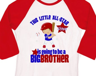 Big brother to be baseball Little All-Star pregnancy announcement raglan Tshirt