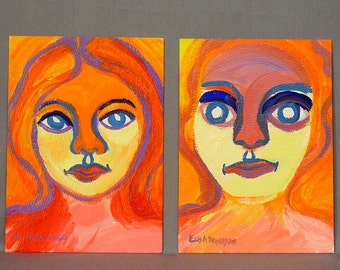 colorful boy and girl paintings, original acrylic paintings on paper, Fauvism portraits