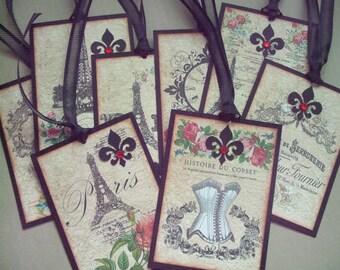 Paris gift tags, vintage style, french party favor, wedding shower, home decor, eiffel tower, fleur de lis, red roses- set of 8