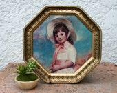 Large Vintage Tin with TWO Lids, Little Girl/Little Boy Portraits, 8-sided tin
