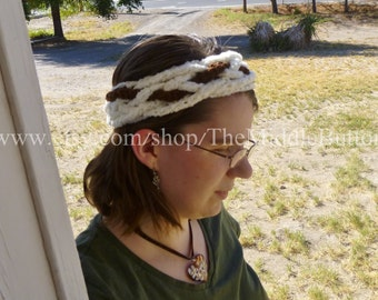 The Josie - Celtic Knot Headwrap - In Cream and Chocolate