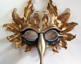 Sun and Moon leather bird mask in antique gold, silver, and midnight blue, cardinal, Halloween