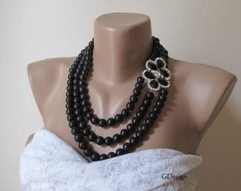 Wedding black glass pearl necklace, Bridal Pendant, rhinestone brooch  layered jewellery , bold bridal, statement necklace