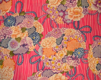 Pink Floral Asian, Oriental Print Cotton Fabric