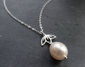 Pearl necklace, Lotus flower necklace, lotus necklace, pearl drop necklace, bridal jewelry, bridesmaid gift