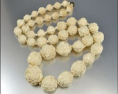Art Deco Celluloid Necklace Ivory Cabbage Rose Flower Vintage 1930s Art Deco Jewelry