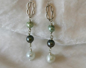 pearl and silver drop earrings in shades of green and blue - song of the sea
