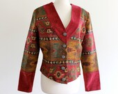 90s Tapestry Southwestern Aztec Navajo Country Short Jacket Coat . ML . GT . No.352.6.7.13