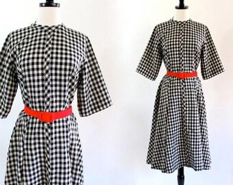 60s Checkered Pin Up Rockabilly Garden Retro Swing Dress . ML . D094 . No.172.3.14.13