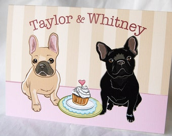 Frenchies in Love Greeting Card - Customized with Your Names