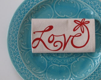 Cotton Kitchen Towel with Love Flower design - Choose your ink color