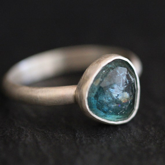 blue green tourmaline gemstone ring in sterling by apostrophie