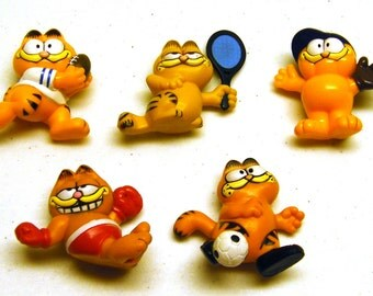 Vintage Garfield Collectible Sport Figurines Lot (Boxer, Tennis Player, Soccer Player, Baseball Outfielder and Football Player)