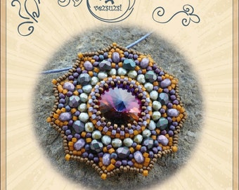 Pendant tutorial / pattern Frederik with swarovski rivoli – PDF instruction for personal use only